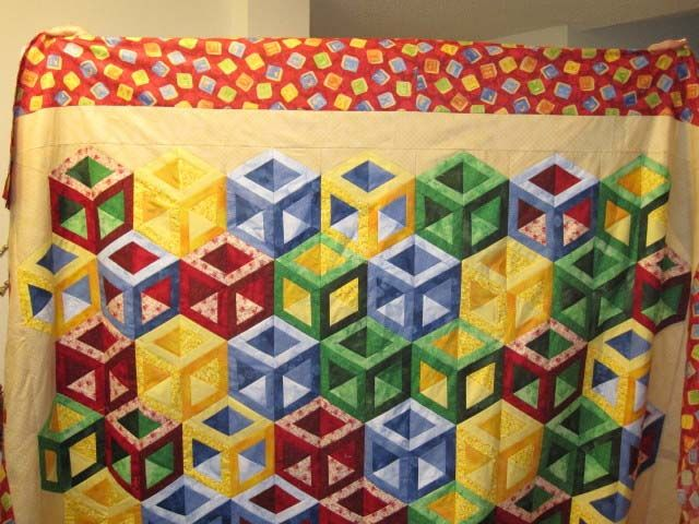 Quilting Patterns Tumbling Blocks : Found in ABC 3-D Tumbling Blocks...and More!, page 44 - Hollow Cube by Martha E. DIY Quilting ...