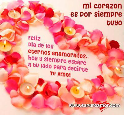 Bonita tarjeta de San Valentín para compartir en facebook con un corazón formado de rosas