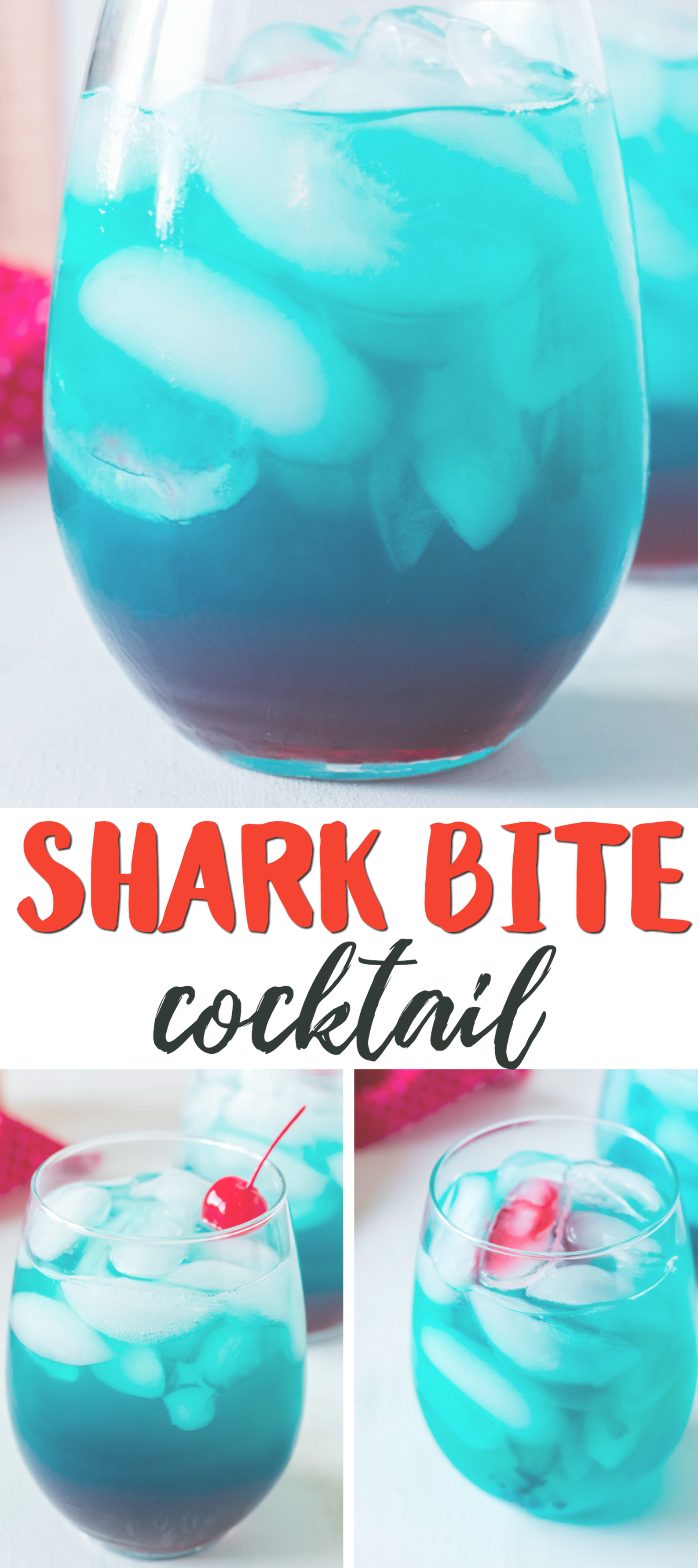 Shark bite cocktail drink is so good!! Perfect summer alcoholic drink using coconut rum, grenadine, sweet and sour mix, and blue curacao! Shark week drink to make. #drinks #sharkbite #cocktails #alcoholicbeverages #alcoholicdrinks #craftymorning #sharkweekfood