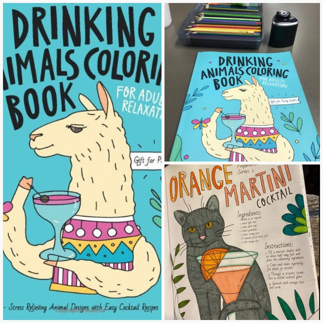 Drinking Animals Coloring Book A Fun Coloring Gift Book For Etsy Coloring Books Animal Coloring Books Funny Coloring Book