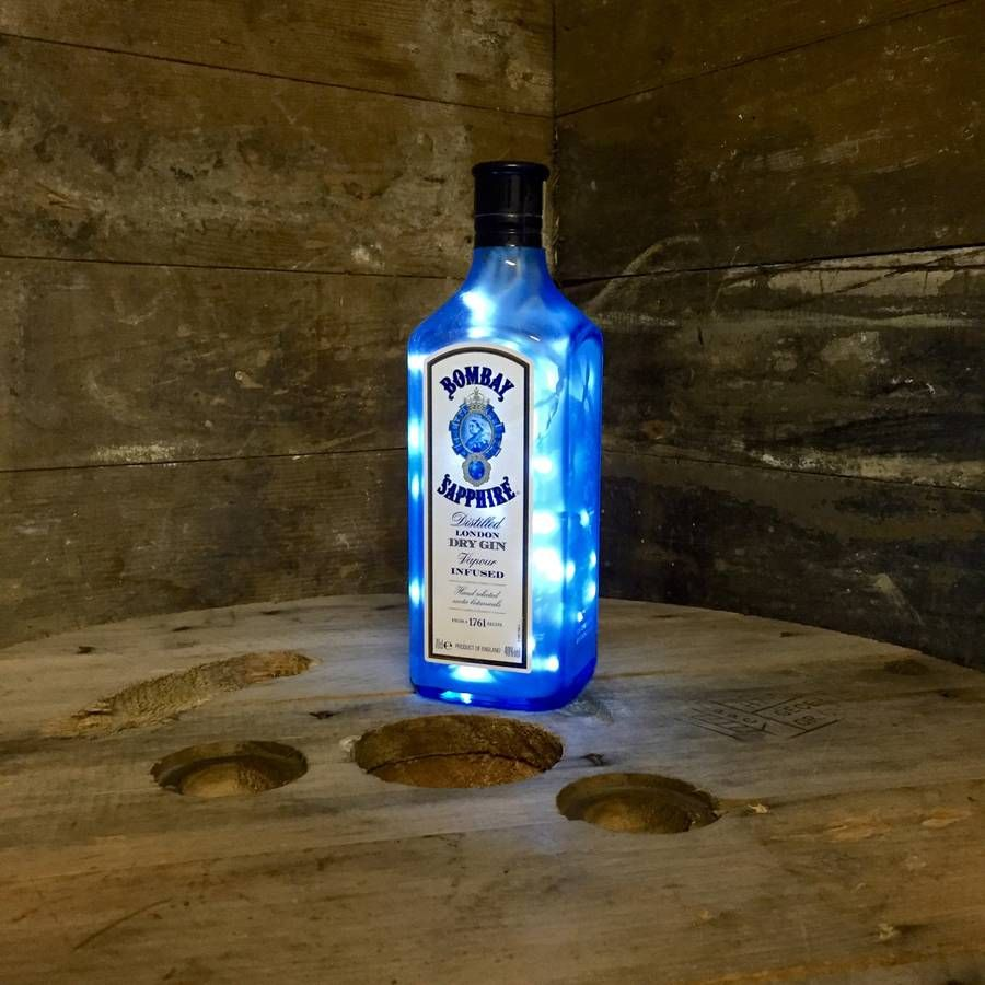 Upcycled Bombay Sapphire Bottle Lamp Glass