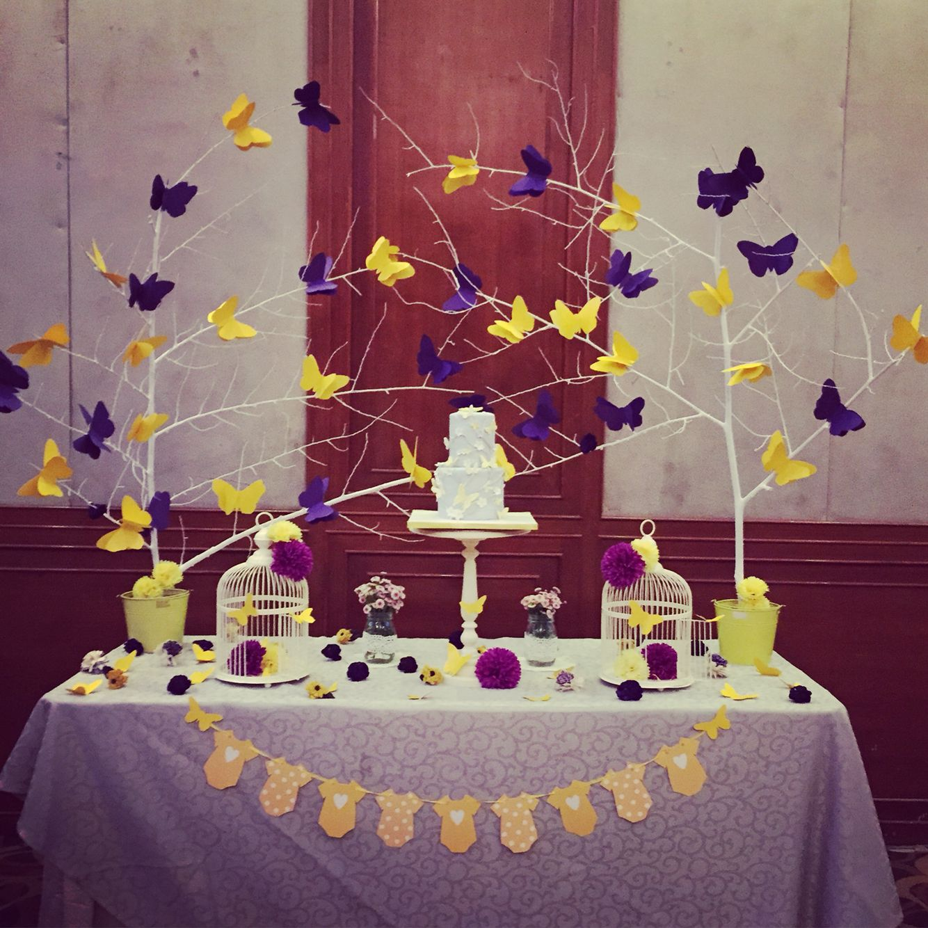 Butterfly Theme For Baby Shower Part - 47: Butterfly Themed Baby Shower. Yellow And Purple Theme. Gender Neutral. Done  By With