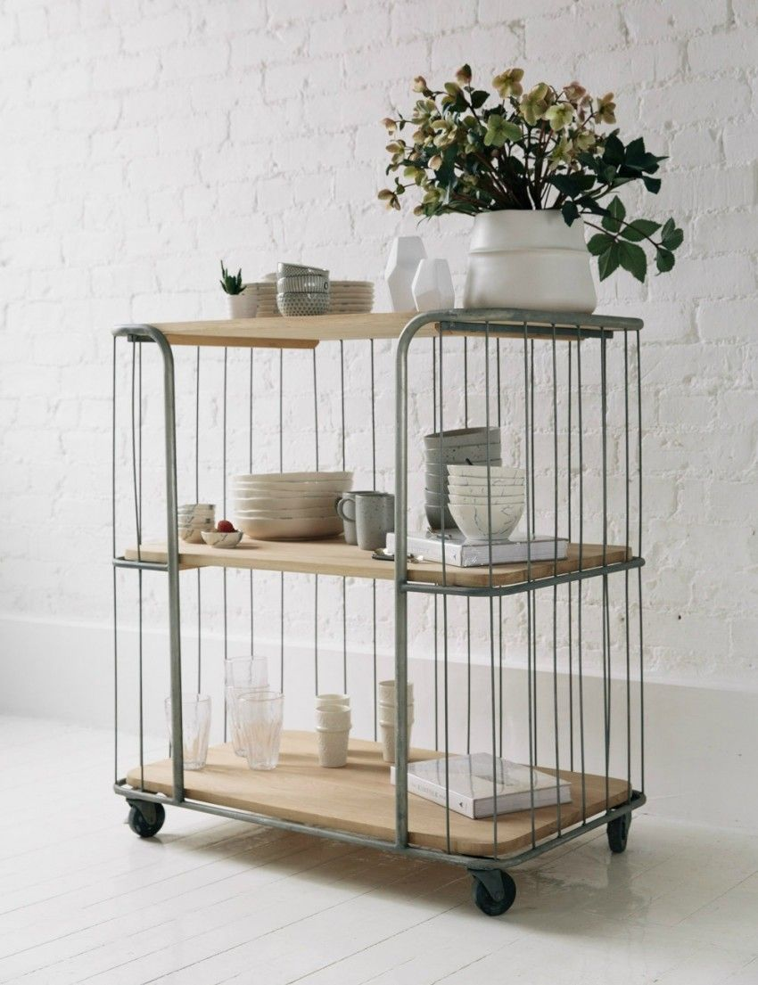 Three Tier Oak Trolleyat Rose U0026 Grey