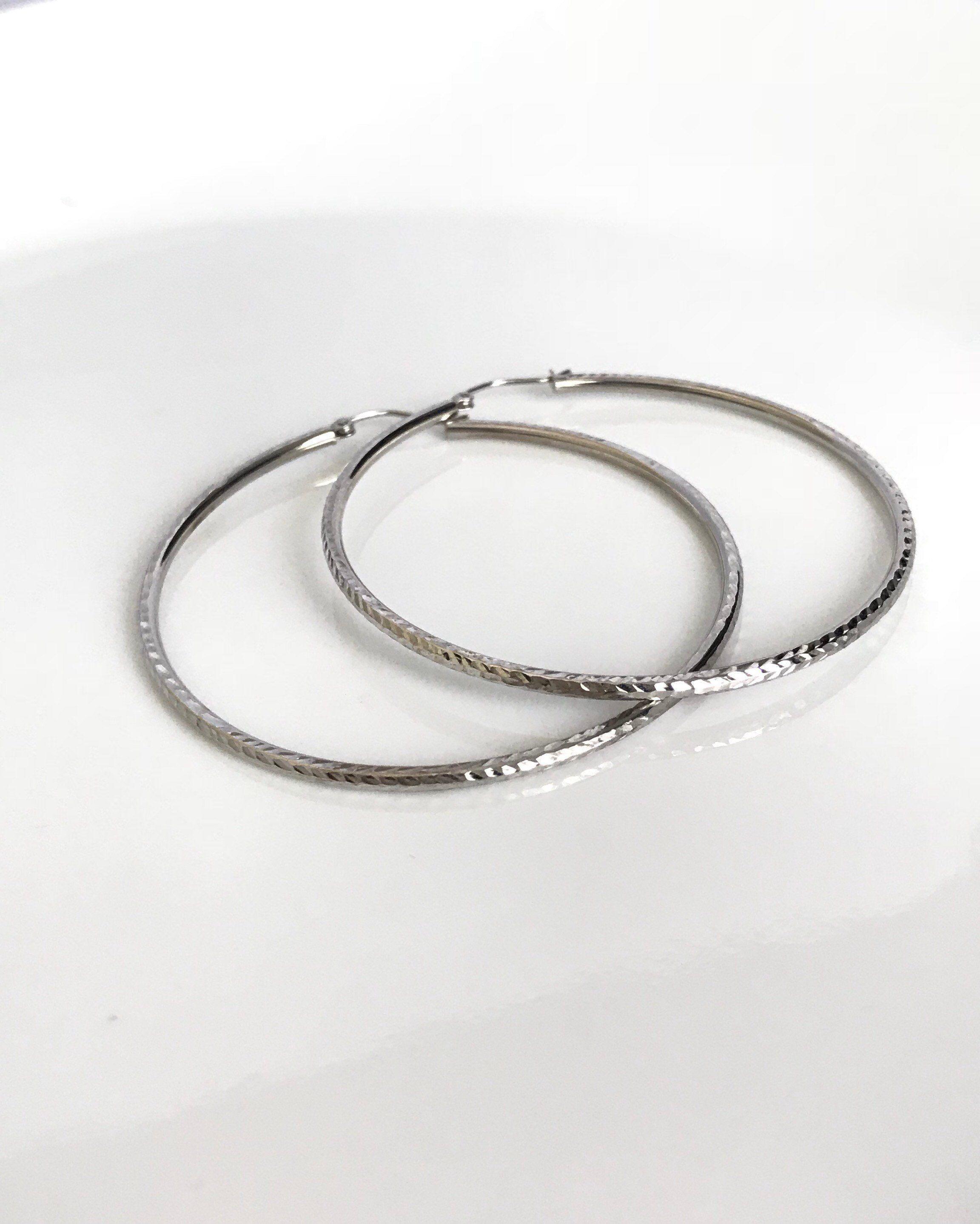 14k White Gold Large Hoop Earrings Thin