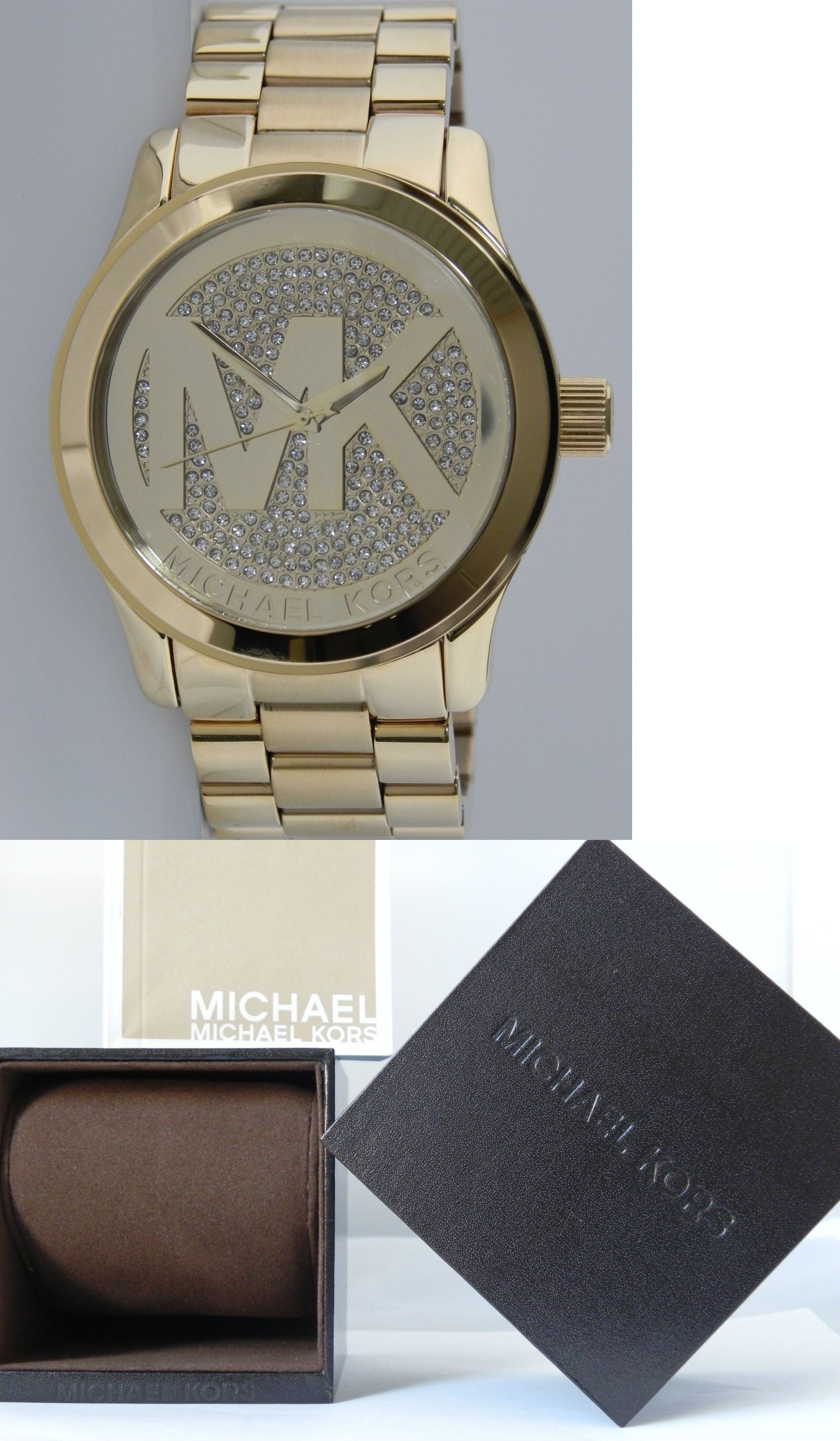 edd9ea3d1bba Parts and Accessories 51021  Michael Kors Women S Mk5706 Runway Gold Tone  With Mk Logo With Crystal Dial 45Mm -  BUY IT NOW ONLY   295 on eBay!