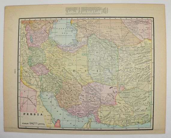 1900 Antique Map Iran Persia Map Afghanistan Pakistan Map Middle