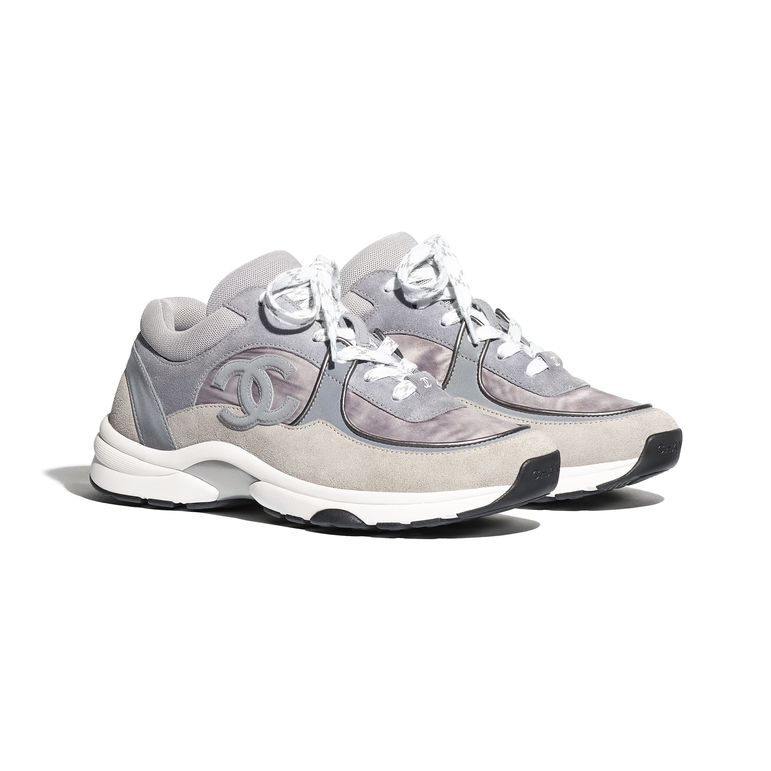 Grey sneakers, Chanel shoes, Sneakers