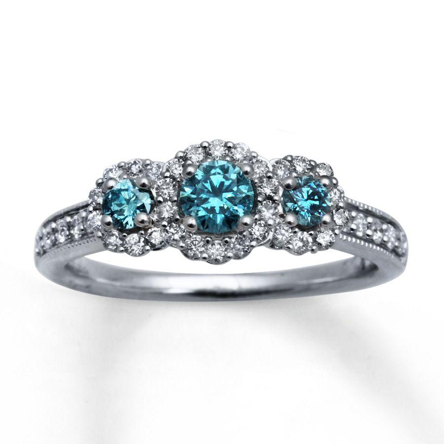 Kay Light Blue Diamonds 78 ct tw Engagement Ring 14K White Gold