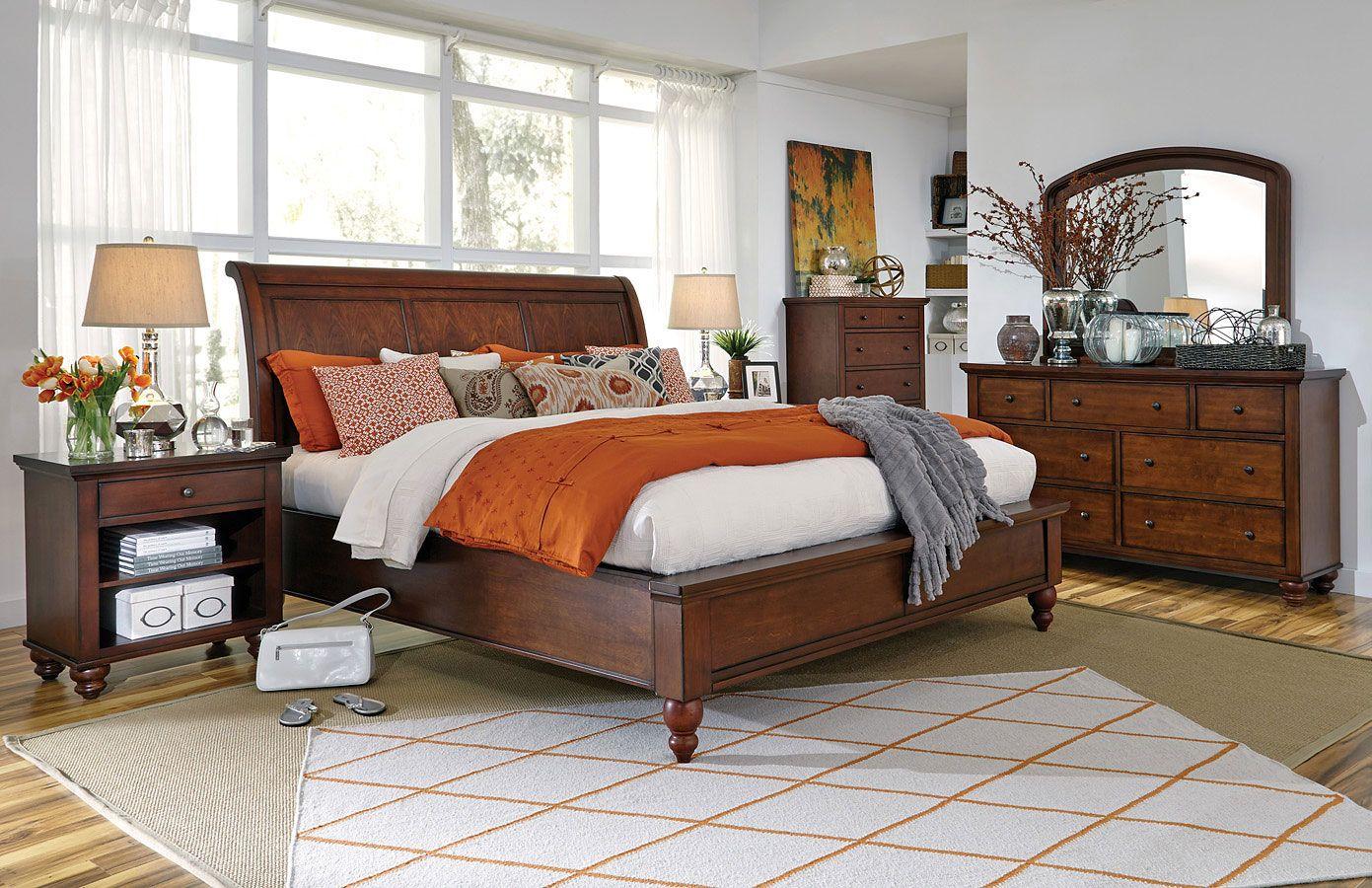 Cambridge sleigh bedroom set brown cherry furniture