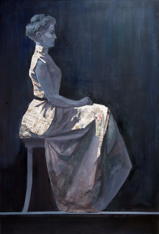 "Sanna Maria Paananen ""Voimanainen"" 180x120cm, oil, newspaper, 2013  (Photo by Teemu Heikkinen) (Sold)"