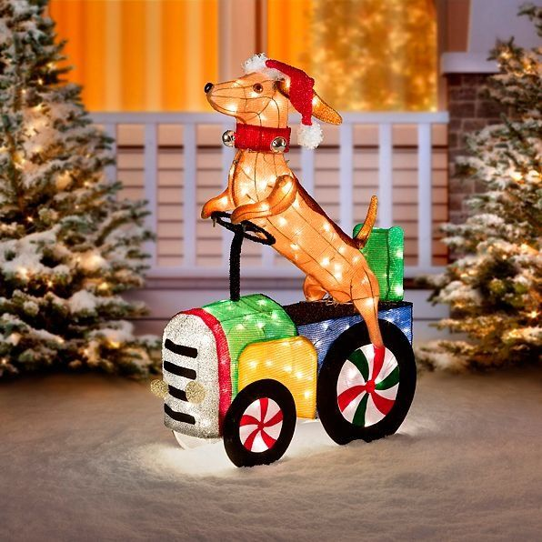 The Adorable Hound Dog Riding Tractor Outdoor Christmas Decoration Will Steer His Indoor Christmas Decorations Outdoor Christmas Decorations Outdoor Christmas