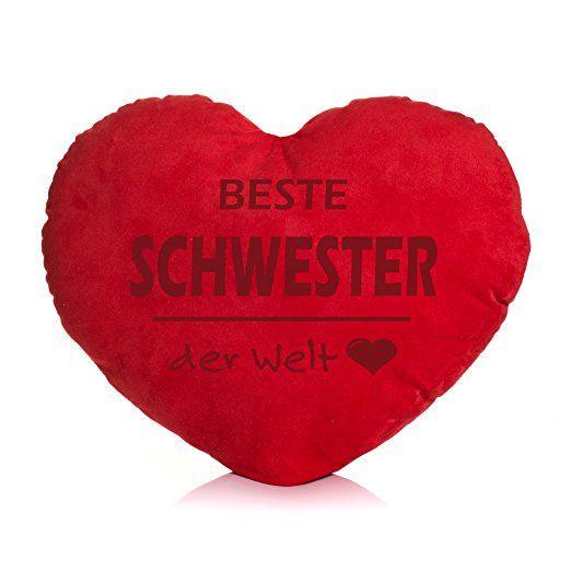 Herzkissen pl schkissen herzform spruch w hlbar deko kissen herz geburtstag geschenk beste - Geschenk schwester 25 ...