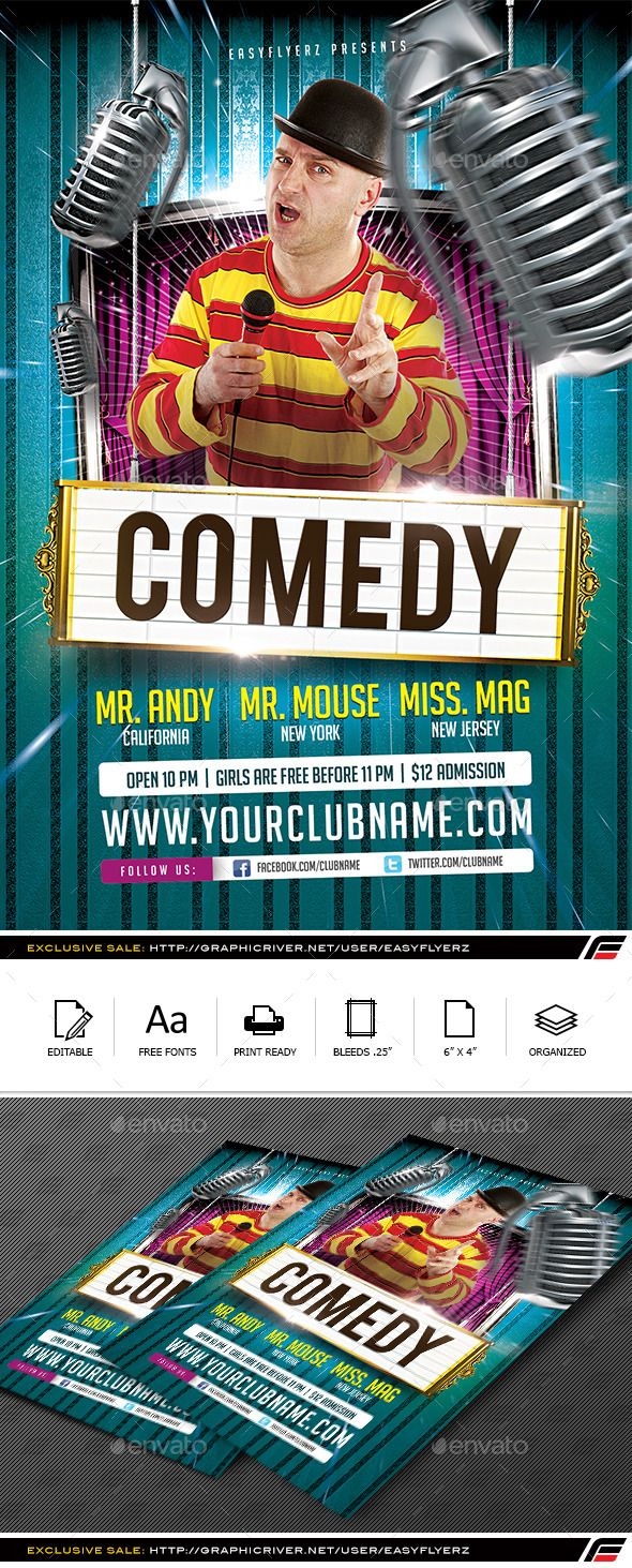 Stand Up Comedy Flyer Template  Billboard Flyer Template And