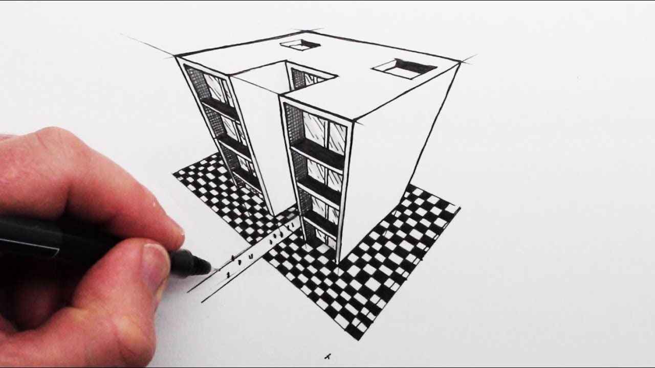 How To Draw Using 3 Point Perspective Simple Buildings With