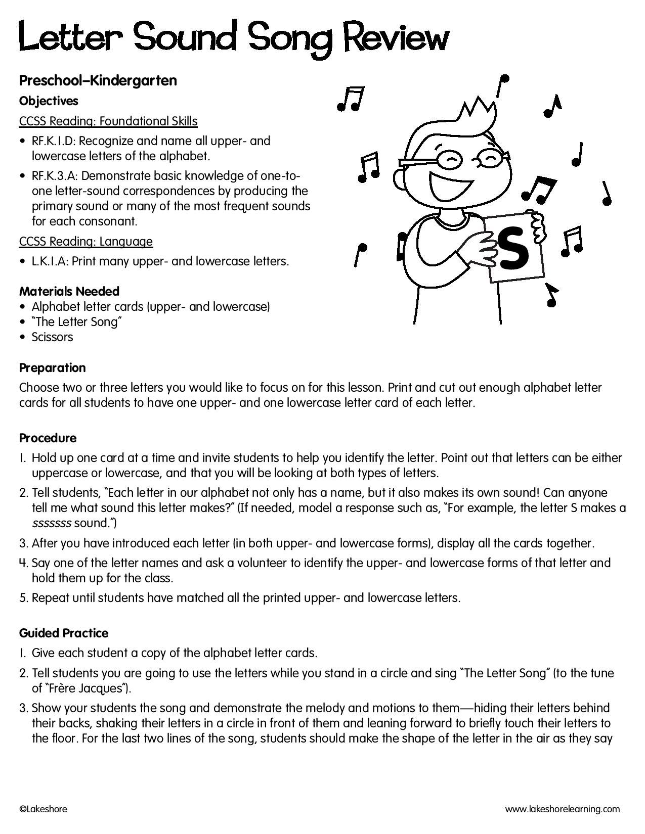 Letter Sound Song Review lessonplan Letter sound song
