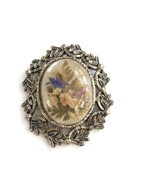 Vintage pressed flower brooch