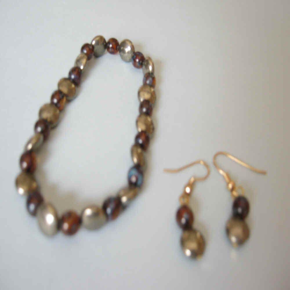 Bracelet and Earrings - Pyrite with Dark Brown