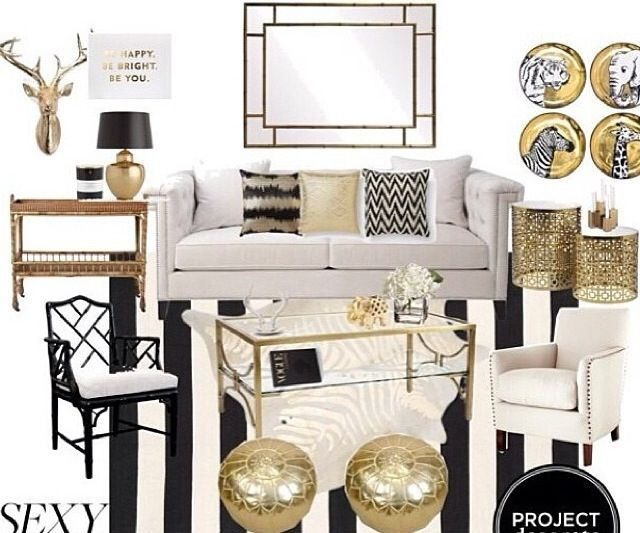 Pillow Positions, Styling Ideas, Gold Accessories. Interior Design  BoardsInterior SketchBlack And White Living Room ...