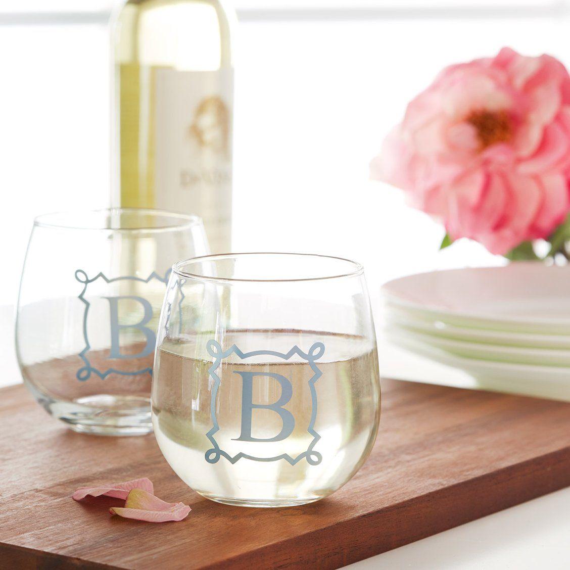 Vinyl Monogram Stemless Wine Glass | Wedding favor crafts, Vinyl ...