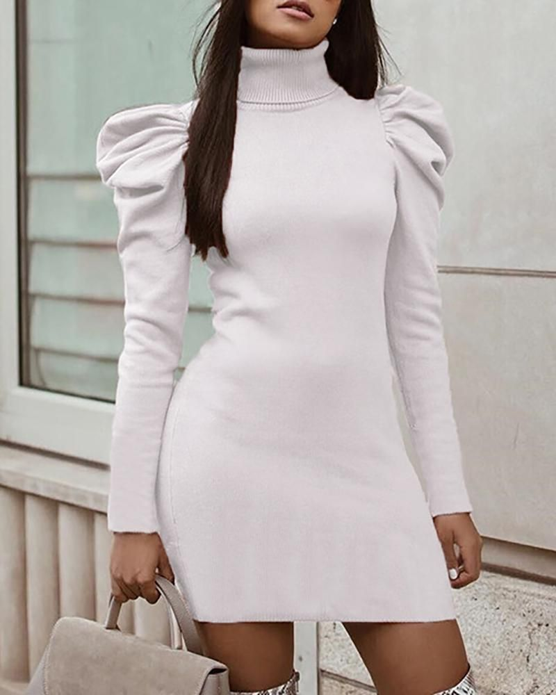 Puff Sleeve High Neck Ribbed Dress Mini Dress With Sleeves Maxi Dress Outfit Fall Fashion [ 1000 x 800 Pixel ]