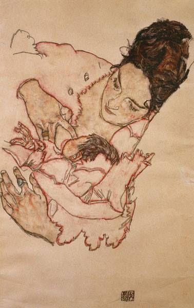Mère allaitant (Stephanie Grünwald) Egon Schiele, 1917 Aquarelle et crayong noir, environ 29 x 46 cm Collection privée