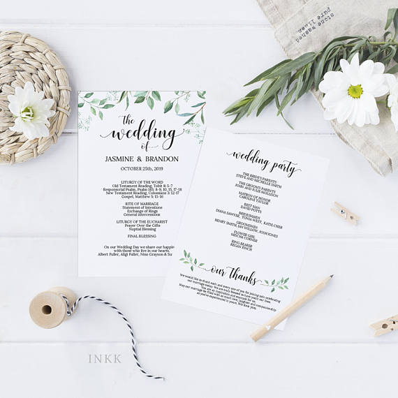 Printable Wedding Program Wedding Program Template Greenery