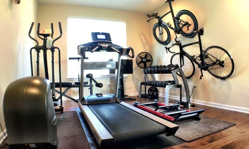 Bike storage home ironman training room in bike storage