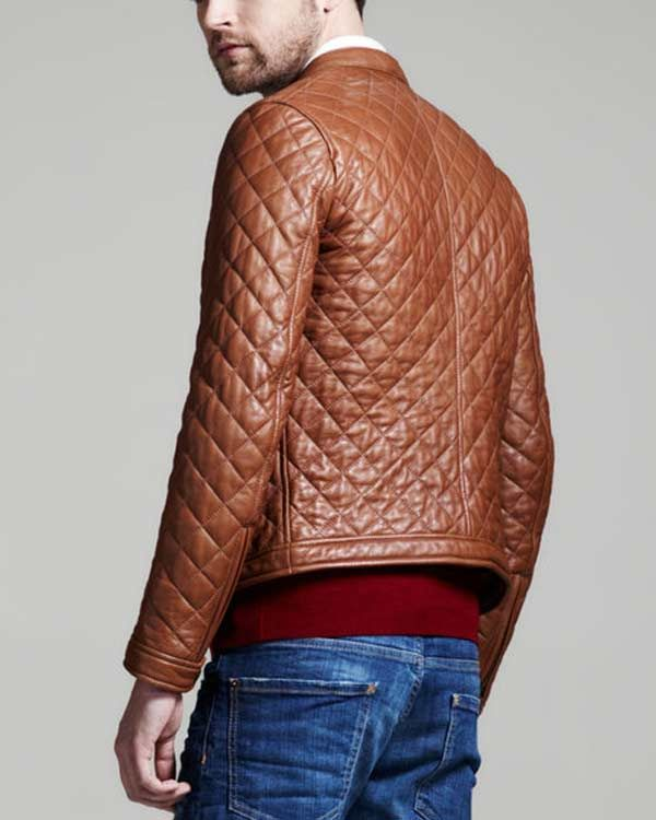 dsquared brown quilted leather bomber jacket for men | Come As You