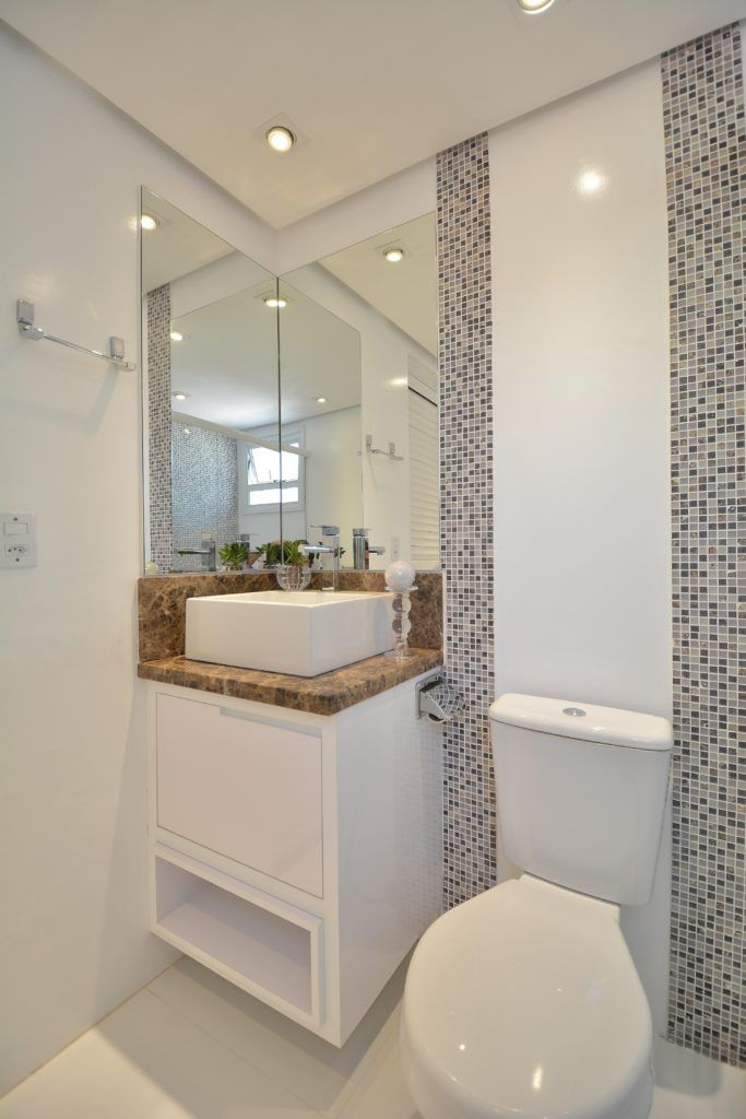 banheiros pequenos com decoração simples e moderna  Decor  Pinterest  Deco -> Decoracao Banheiro Moderna