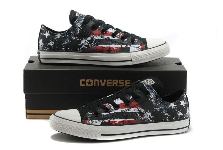 8f0c2d16222c Stylish Converse American Flag All Star Black Red White Graffiti Print Chuck  Taylor Low Tops Canvas Sneakers  converse  shoes