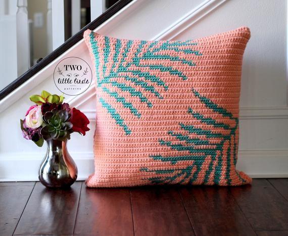 Crochet motif de couverture d'oreiller, tutoriel d'oreiller palmier tropical, décoration tropicale, motif coussin palmier tropical CHILLAXIN oreiller ensemble   – wayuu