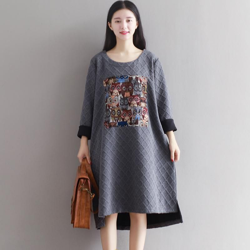 New Arrival 2016 Autumn Arts style High Quality cotton linen Loose casual long sleeve Dresses Plus Size Women Brand Clothing S32
