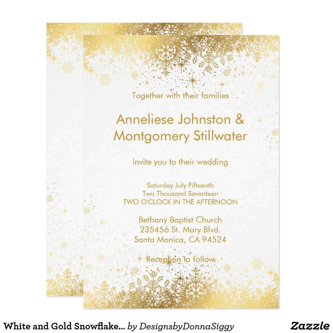 White And Gold Snowflakes Wedding Invitation Quinceanera Ideas