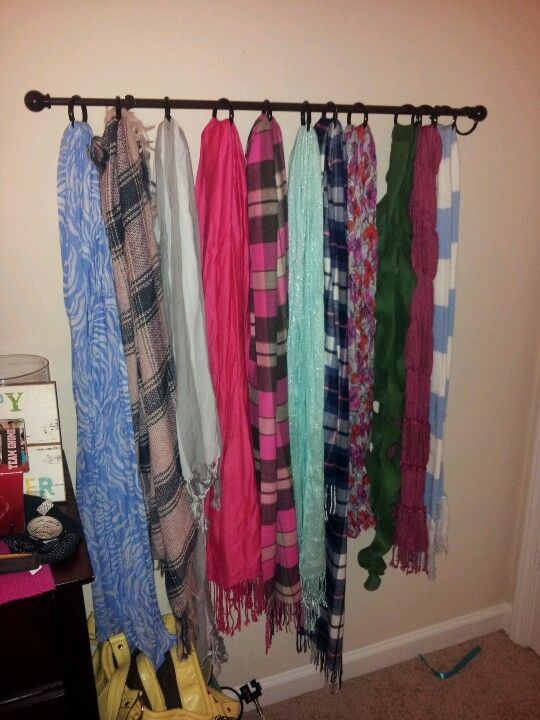 Scarf Rack With A Curtain Rod And Some Shower Certain Hooks The