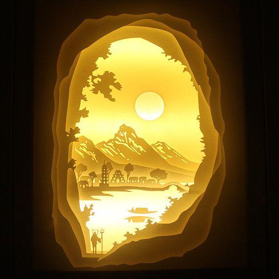 Silhouette scherenschnitt abenteuer lichtkasten nacht leichten akzent lampe weihnachten hochzeit - Lightbox weihnachten ...