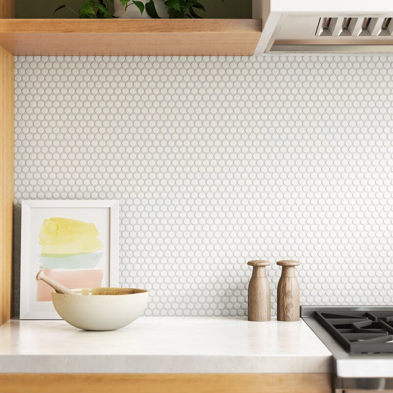 Roger Round 12 X 12 Porcelain Mosaic Tile Reviews Allmodern In 2020 Kitchen Flooring White Kitchen Tiles Penny Tile Backsplash