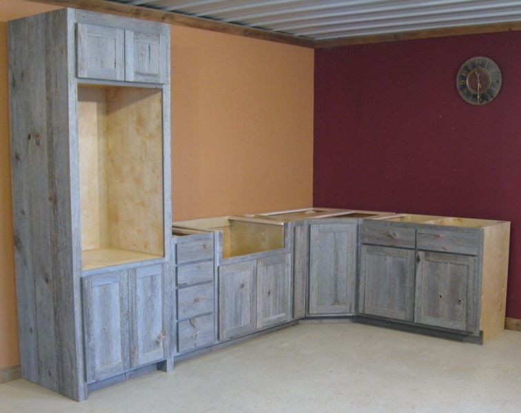 A Weathered Gray Barnwood Kitchen 190 00 Lineal Foot Rustic Kitchen Cabinets Barn Wood Grey Kitchen Cabinets