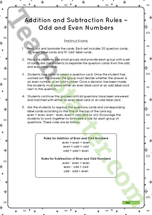 Addition And Subtraction Rules For Odd And Even Numbers Matching