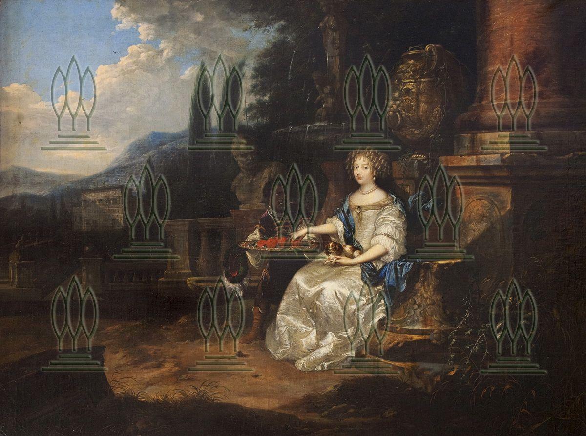 Dame im Park (Liselotte von der Pfalz) Abb. ohne Rahmen