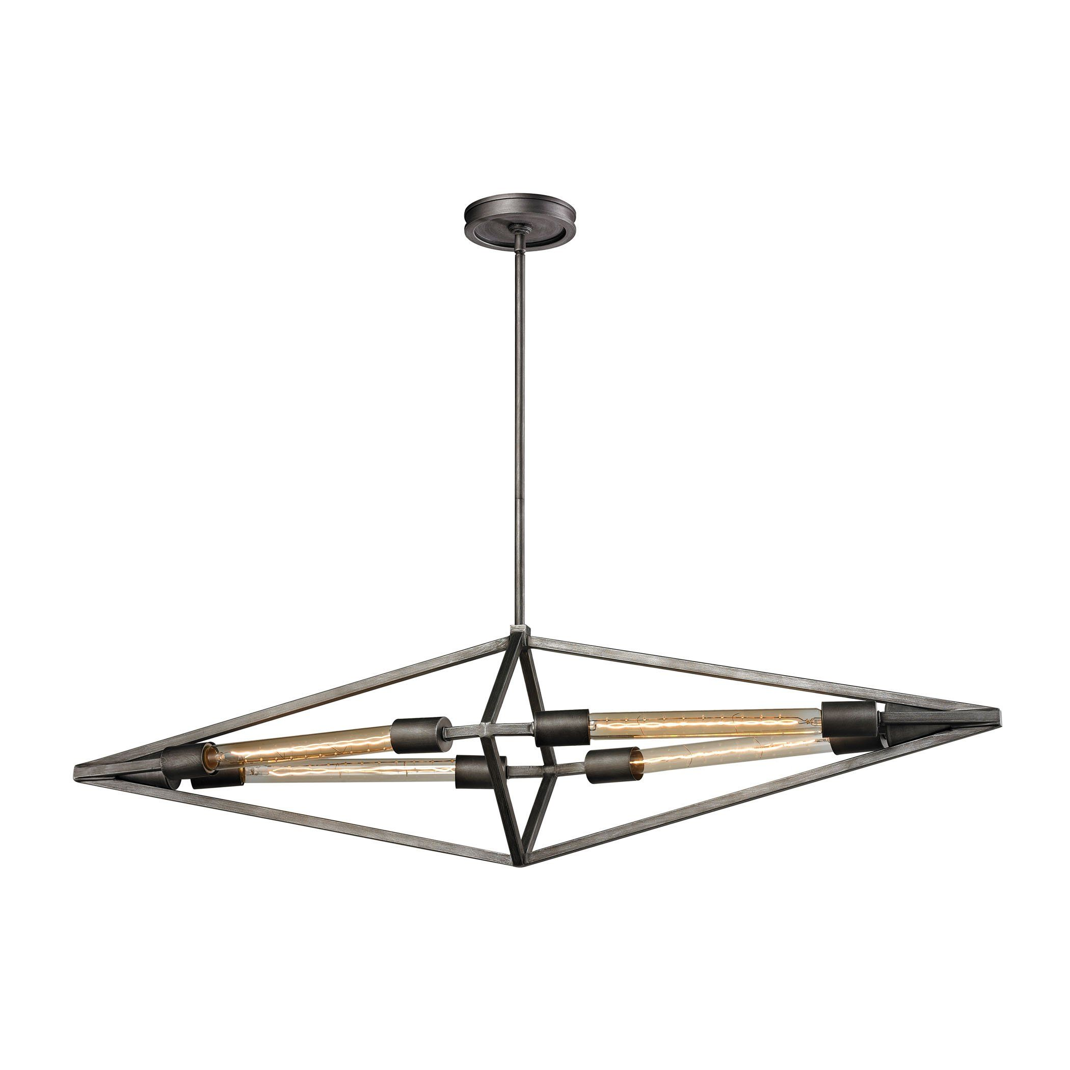 Laboratory 4 Light Chandelier In Weathered Zinc - Bulbs Included 66893/4B