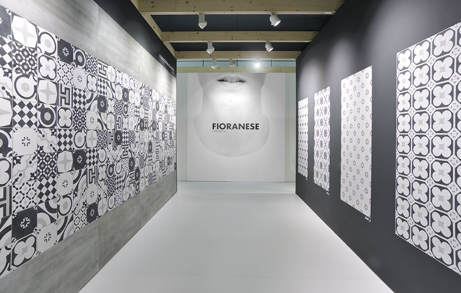 Cersaie ceramica fioranese cementine black white collection