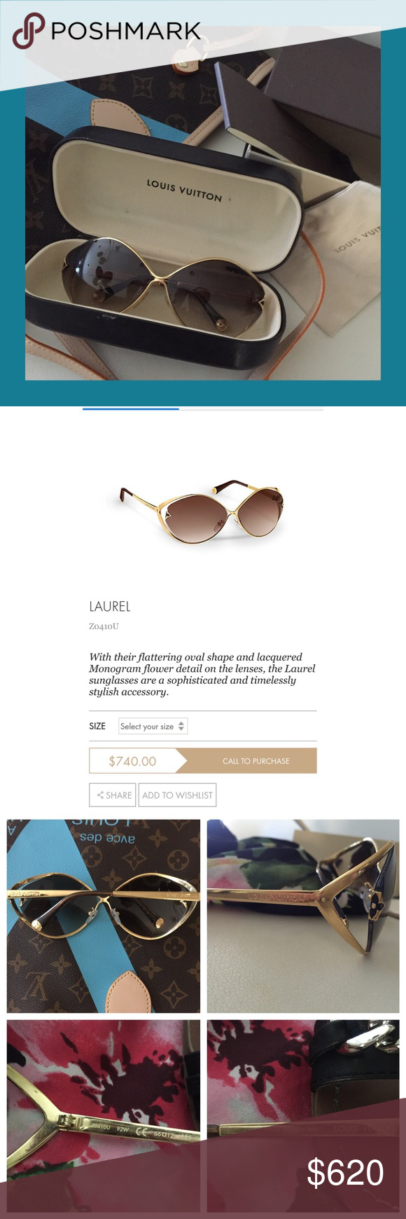 cdb52a247fd Louis Vuitton Laurel Sunglasses With their flattering oval shape and  lacquered Monogram flower detail on the
