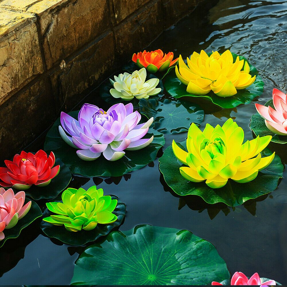 Artificial Fake Lotus Flower Leaves Water Lily Floating Pool