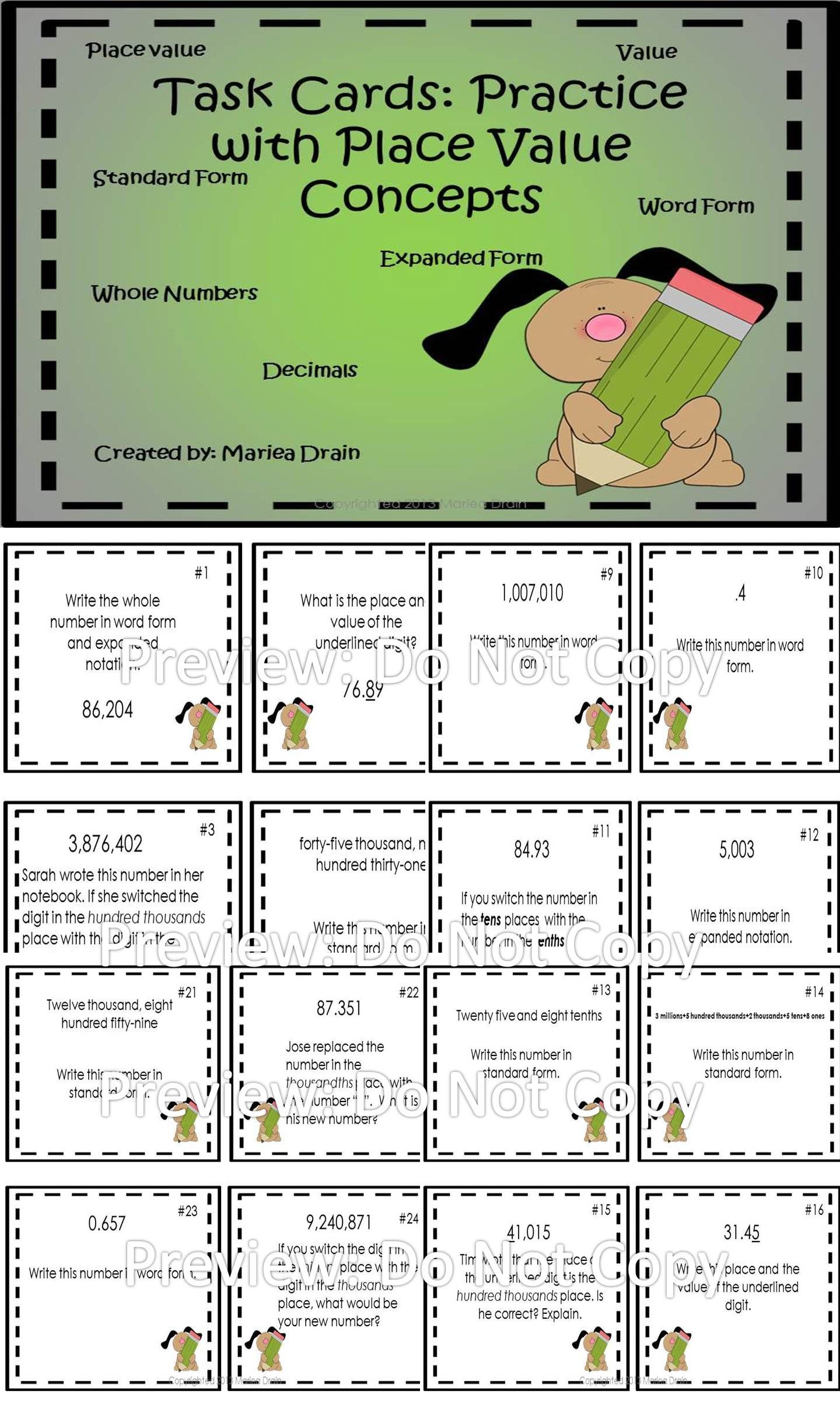 Place Value Task Cards And Powerpoint Show