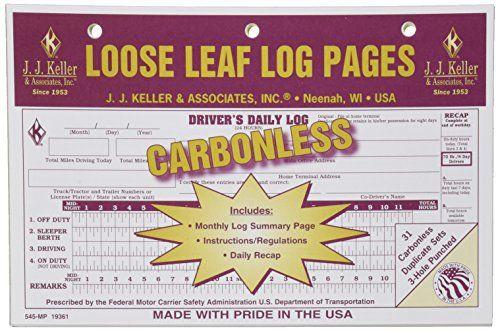 JJ Keller 19361 Loose-Leaf Driver\u0027s Daily Log Book - \u0027Drivers - driver daily log sheet template
