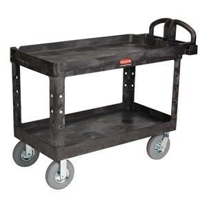 Utility Cart, Lipped, Black, 8 In Caster by Rubbermaid. $916.51. Utility Cart, Lipped, Load Capacity 750 lb., Plastic Construction, Smooth Finish, Color Black, Overall Length 53-5/8 In., Overall Width 25 In., Overall Height 35-3/4 In., Number of Shelves 2, Caster Size 8 In., Caster Type 2 Rigid, 2 Swivel, Caster Material Non-Marking Pneumatic Rubber Wheels, Capacity per Shelf 375 lb., Shelf Length 46-1/2 In., Shelf Width 25 In., Yes Handle, Number of Compartments 3...
