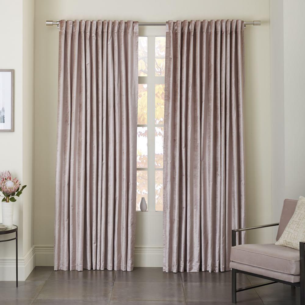 Velvet curtain club - Cotton Luster Velvet Curtain Dusty Blush West Elm