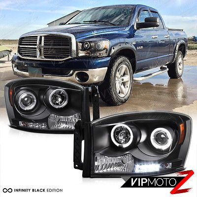06 08 Dodge Ram 1500 2500 3500 Black Dual Halo Projector Led Headlights Lamps Ebay Dodge Ram 1500 Dodge Ram Dodge