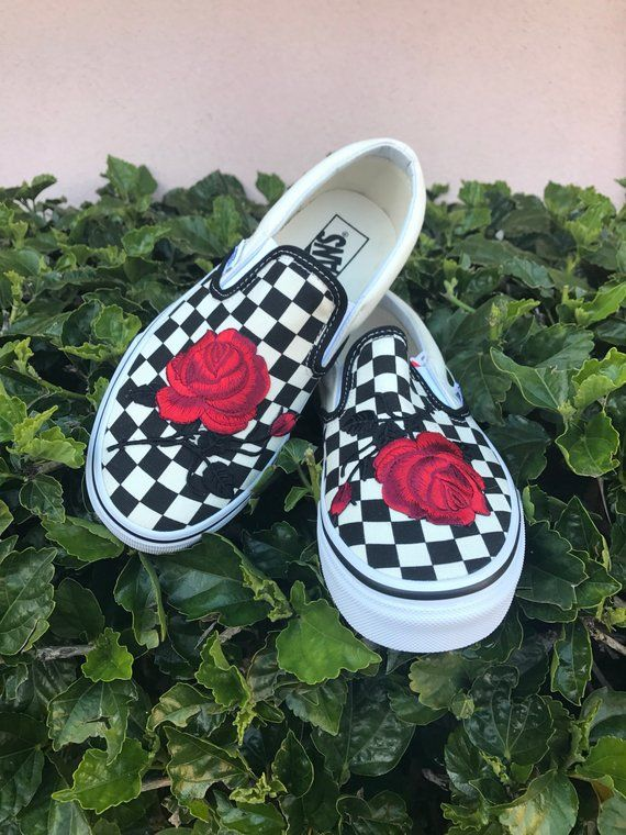 Checkered Slip On Vans Rose Embroidery Shoes -- Sale Code Inside ... 4fbac92c5