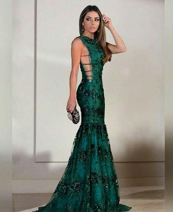 Vestido verde esmeralda bordado